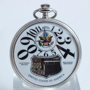 Boegli M91R USA logo, luxusné vreckové hodiny pánske