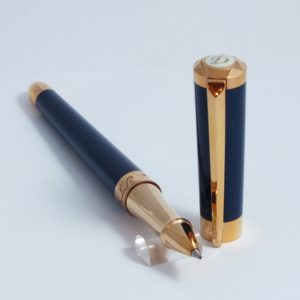 ST Dupont Roller pero Liberte ružové zlato modrý lak